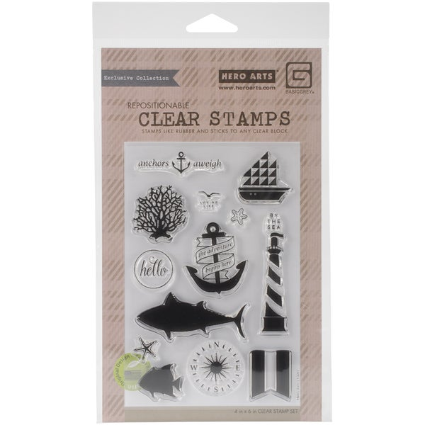 Basic Grey Adrift Clear Stamps By Hero Arts-Anchors Aweigh