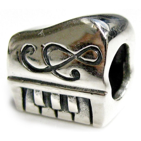 Queenberry Sterling Silver Piano Keyboard with Treble Clef European Bead Charm