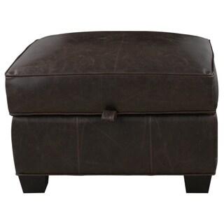 Aaron Brompton Cocoa Bonded Leather Storage Ottoman