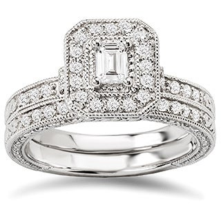 Avanti 14K White Gold 5/8ct TDW Diamond Emerald Shaped Bridal Ring Set (G-H, SI1-SI2)