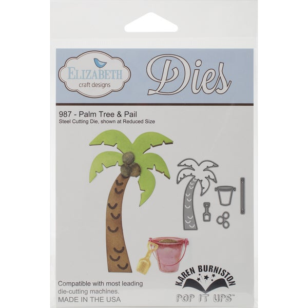 Elizabeth Craft Pop It Up Metal Dies By Karen Burniston-Palm Tree & Pail