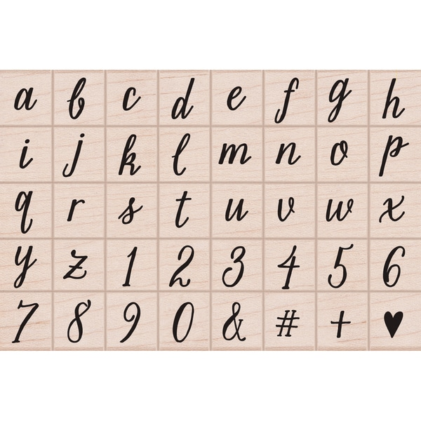 "Hero Arts Mounted Rubber Stamp Set In Box 3.75""X2.25""-Casual Letters & Numbers Script"
