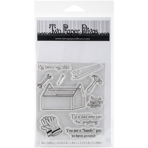 "Two Paper Divas Clear Stamps 8.5""X4.5""-You Are A Handy Guy"