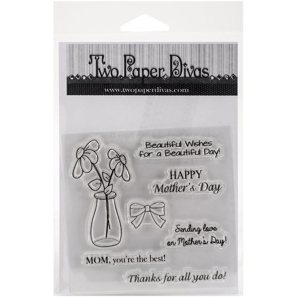"Two Paper Divas Clear Stamps 7""X4.5""-Happy Mother's Day"