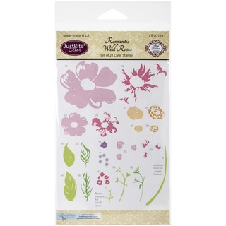 """JustRite Papercraft Clear Stamp Set 4""""X6""""-Romantic Wild Roses"""