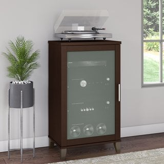 Bush Furniture Somerset Audio Cabinet or Bookcase in Mocha Cherry