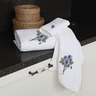 Authentic Hotel and Spa Soft Twist Turkish Cotton 3-piece Towel Set with Embroidered Violet Flowers
