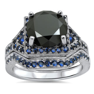 14k White Gold 2 1/2ct Certified Black Round Diamond Blue Sapphire Bridal Ring Set