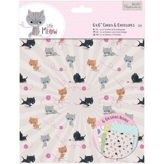 Papermania Little Meow Cards W/Envelopes 6inX6in 12/Pkg
