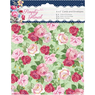 Papermania Simply Floral Cards W/Envelopes 6inX6in 12/Pkg
