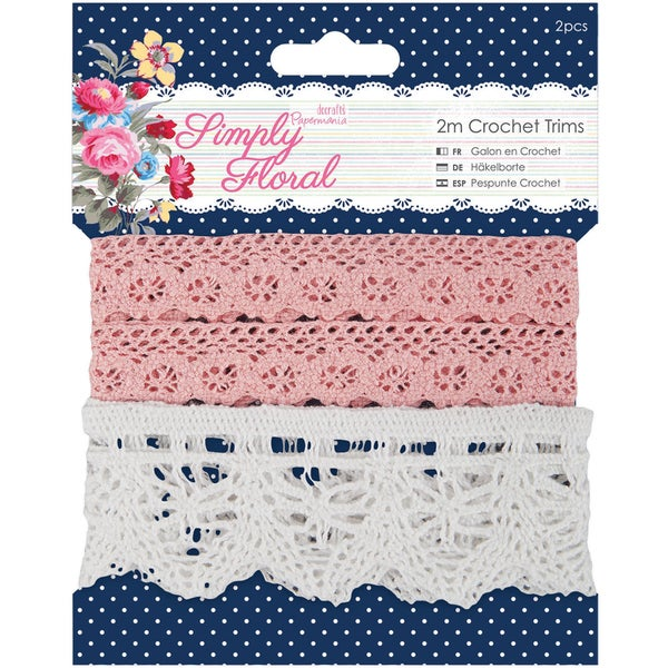 Papermania Simply Floral Crochet Trims-2 Styles/2m Each