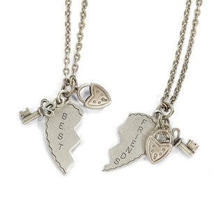Sweet Romance Best Friends Heart Puzzle Charm Necklace Set