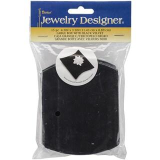 """Large Velvet Pillow Jewelry Gift Boxes 4.5""""X3.5"""" 15/Pkg-Black"""