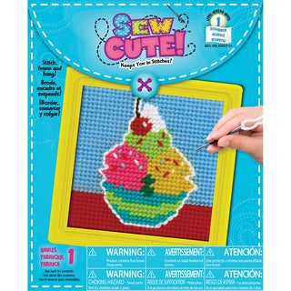 """Ice Cream Learn To Sew Needlepoint Kit-6""""X6"""" Stitched In Yarn"""