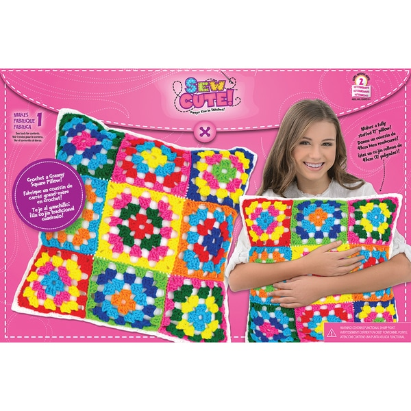 Sew Cute Crochet Granny Squares Pillow