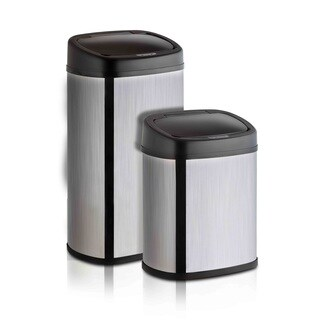 Modernhome Brushed Stainless Steel, Anti-fingerprint 11-gallon and 4-gallon Oval Trashcan Set