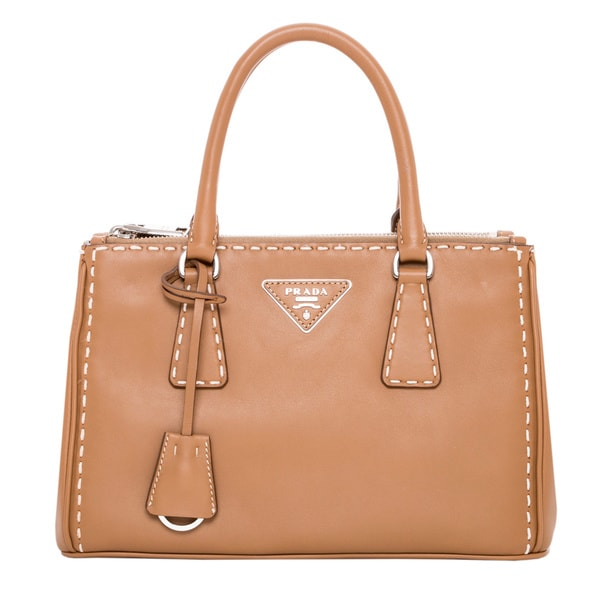 Prada Small City Calf Topstitched Double-Zip Tote