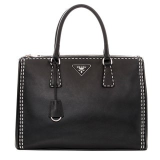 Prada City Calf Topstitched Double-Zip Tote