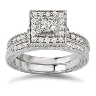 Avanti 14k White Gold 5/8ct TDW Diamond Halo Bridal Ring Set (G-H, SI1-SI2)
