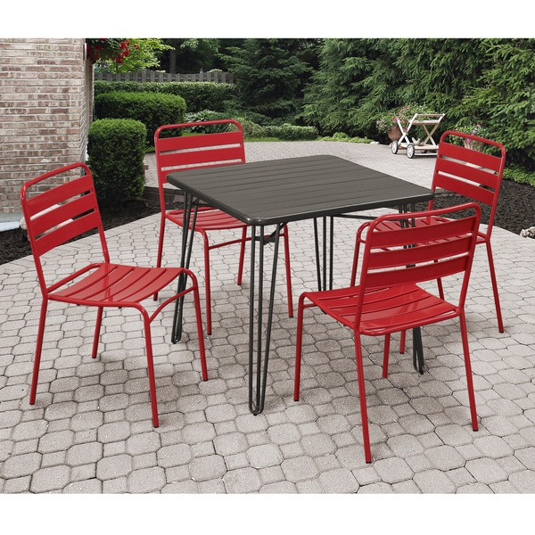 Grey and Red 5-piece Outdoor Dining Set
