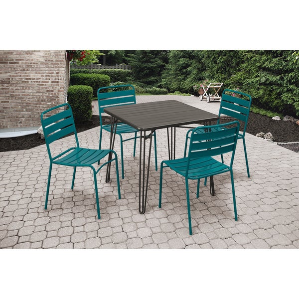Grey and Teal 5-piece Outdoor Dining Set