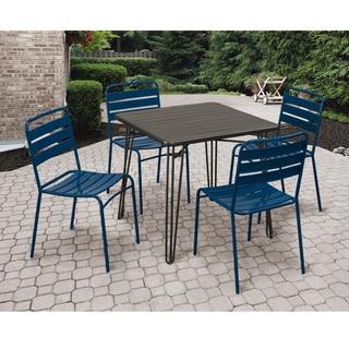 Grey and Dark Blue 5-piece Outdoor Dining Set