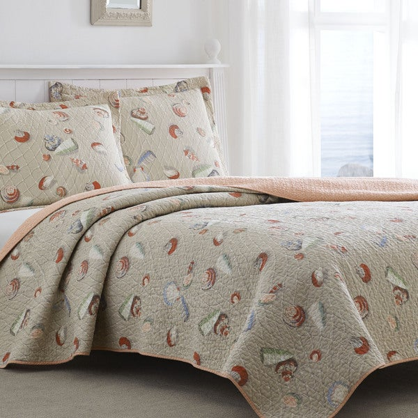Laura Ashley Weekend Getaway Bisque Reversible 3 Piece Cotton Quilt Set
