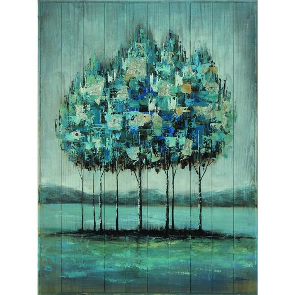 Aqua Trees Original Hand painted Wall Art