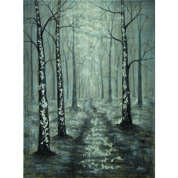 Silver Forest Scene Original Hand painted Wall Art