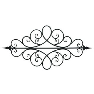 Long Black Filigree Wall Accent