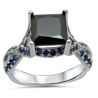 Noori 14k White Gold 2 1/2ct TDW Black Diamond and Blue Sapphire Ring