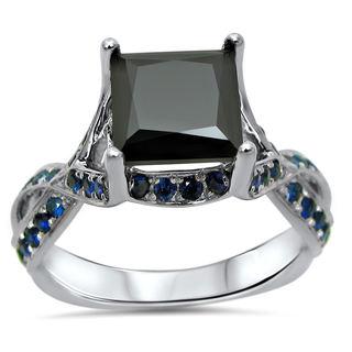 Noori 14k White Gold 2ct TDW Black Diamond and Sapphire Ring