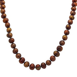 Sterling Silver Chocolate Freshwater Pearl Necklace (8-9 mm)