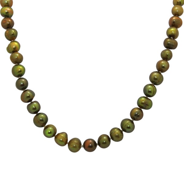 Sterling Silver Pistachio Freshwater Pearl Necklace (8-9 mm)