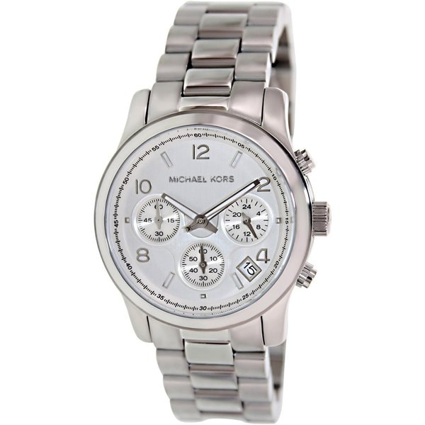 Michael Kors Women's MK5076 Classic Stainless Steel Silver Chronograph Watch (As Is Item)