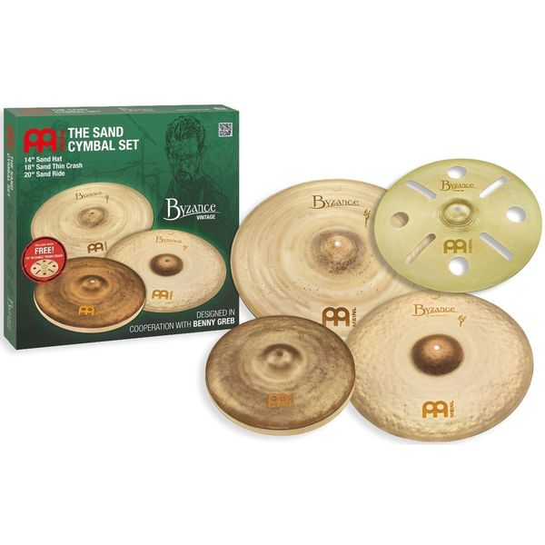 Meinl Cymbals BV-480+B16TRC Byzance Vintage Series Benny Greb Sand Cymbal Set Pack