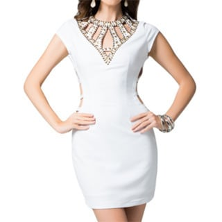 Sara Boo Women's Sequin-embellished Cage Neck Mini Dress
