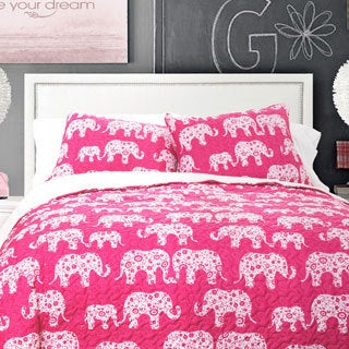Lush Decor Elephant Parade 3-piece Sherpa Quilt Set