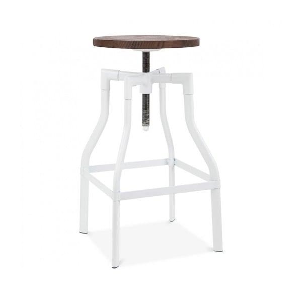 Machinist White Wood Seat Adjustable Barstool