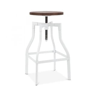 Machinist White Wood Seat Adjustable Barstool