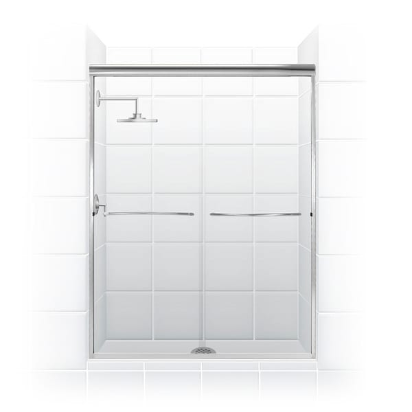 Paragon 1/4 Series 60 in. x 71 in. Frameless Sliding Shower Door with Radius Curved Towel Bar in Chrome and Clear Glass