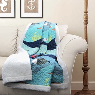 Lush Decor Sea Life Sherpa Throw Blanket
