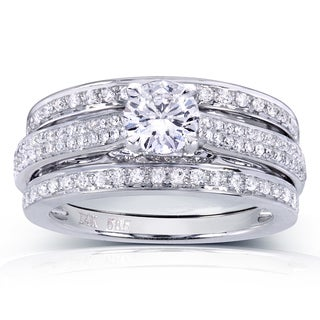 Annello 14k White Gold 1ct TDW Round-cut Diamond 3-Piece Bridal Set (H-I, I1-I2)