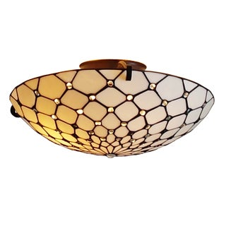 Amora Lighting Tiffany Style Jeweled Design Large Floating Flush Mount 17 Inches