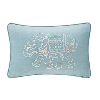 The Curated Nomad Minna Blue Embroidered Elephant Oblong Throw Pillow