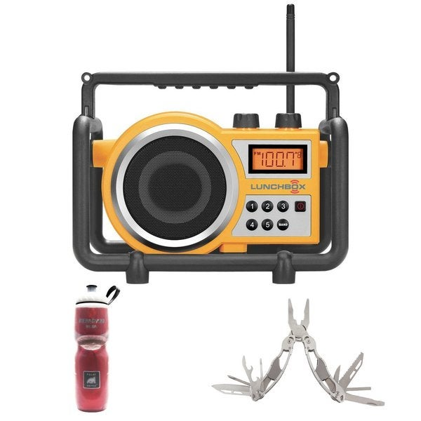 Sangean LB-100 Compact AM/FM Ultra Rugged Radio Receiver + Stainless Steel 12 Tool Multi-tool + Polar Water Bottle