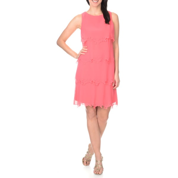 S.L Fashions Women's Tiered Laser Cut Shift Dress