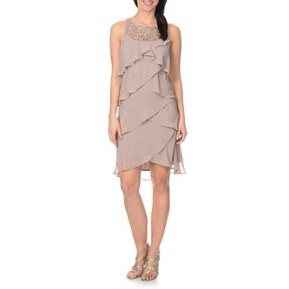 S.L Fashions Women's Asymmetrical Tiered Dress