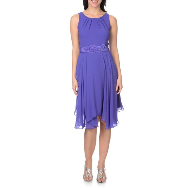 S.L Fashions Women's Uneven Hem Chiffon Dress