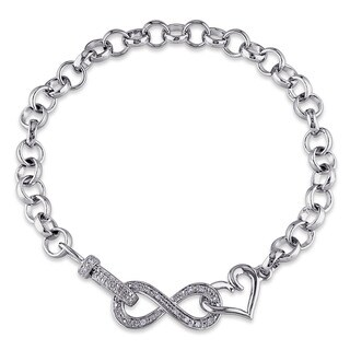 Haylee Jewels Sterling Silver 1/10ct TDW Diamond Infinity Heart Bracelet (G-H, I2-I3)